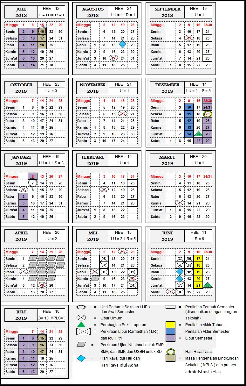 Kalender Pendidikan SMA Negeri 14 Jakarta  Tahun Pelajaran 2018 - 2019